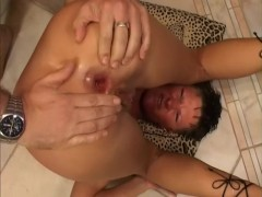 short haired slut rides and opens her asshole for two cocks