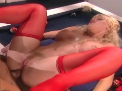 Busty blonde getting fucked in sexy red lingerie