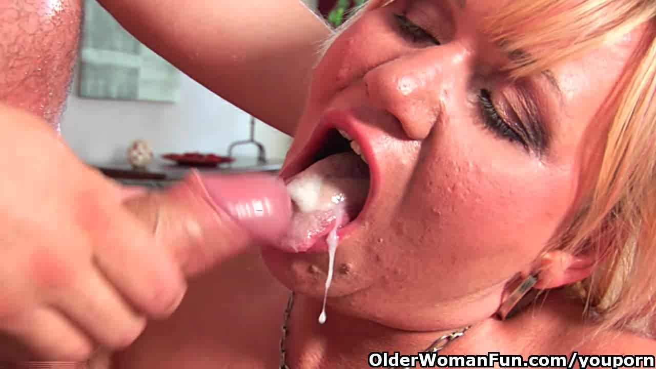Granny sperm mouthful