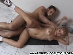 Hot blonde amateur girlfriend anal with facial