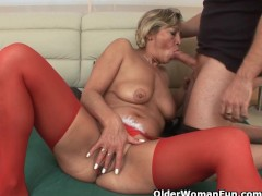 Lustful granny sucks cock and gets fu...