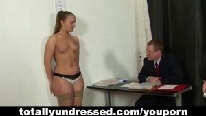 Nude job interview for a secretary