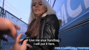 PublicAgent Bleached blonde babe gets fucked outdoors behind a coach
