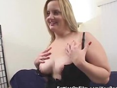 BBW In Lingerie Stripped And Sucks On...