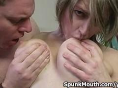 Big Tits cock sucker Velicity Von tittyfucks worships cock for hot facial.