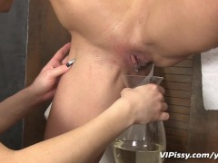 Piss loving girls shower in fresh pee