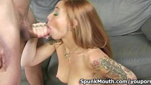 Tattooed chick Scarlett Pain crazy cock sucking skills for a messy facial