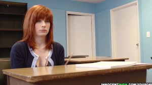 InnocentHigh - redhead coed with hairy pussy Sadie Kennedy deepthroats teacher's cock