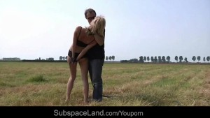 Blonde babe tied and fucked on the plaine