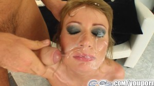 Cum For Cover Teen girls face is rained on with tons of sperm