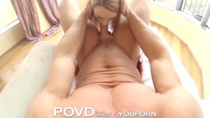 POVD Blonde with big tits chokes down big cock