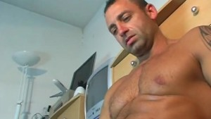 Mature sport guy gets wanked his huge cock by us !