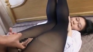 Black Stockings Footjob and Nailing