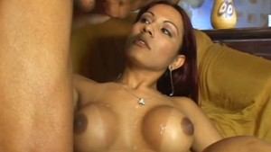 Shemale gets cumshot on huge tits - Pandemonium