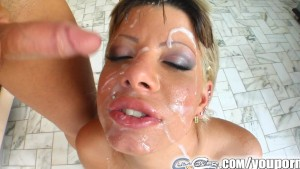 Cum For Cover Goodgirl gets four cumshots bukkake style