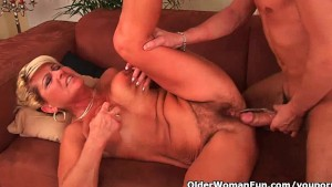 Grandma with sagging big tits and squirting pussy fucked