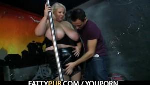 He fucks massive titted plumper in the strip club