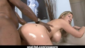 Blonde skank with huge knockers is fucked by black man