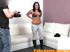 FakeAgent Anal Creampie for sexy brunette amateur