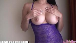 SunnyLeone Sunny Leone in sexy purple lingerie