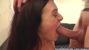 Eurobabefacials French girl gets throat fucked