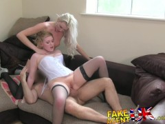 FakeAgentUK 2 hot blonde friends lez up then fuck agent in casting