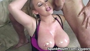 Busty Superstar Abbey Brooks Tittyfucks big dick for cum in mouth