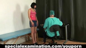 Medical examination for shy girl