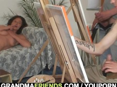 Picture Granny gets banged by two young painters