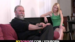 Geezer pounds his son's GF from behind