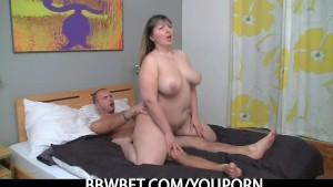 Plump chick enjoys his hard meat