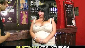 Huge barmaid take it from behind at workplace