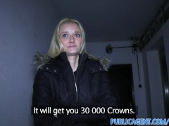 PublicAgent Long haired blonde takes big cum loud in her mouth