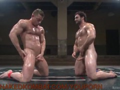 Wrestling Hunks Oil Up and Fight