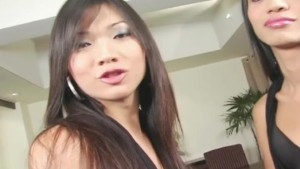 Asian Tgirl Threesome - Platinum X