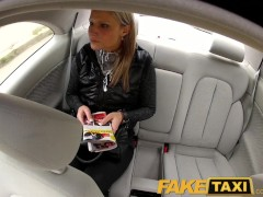 FakeTaxi Blonde babe fucked in her little pussy with panties around feet