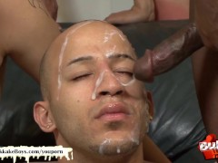 Sexy bukkake boy loves to get his face covered with Jizz