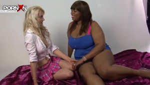 PornXN Petite blonde fist fucking an ebony BBW