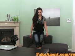 Picture FakeAgent Petite brunette takes juicy Creamp...