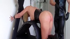 Squirting fisting orgasm for busty bondage babe