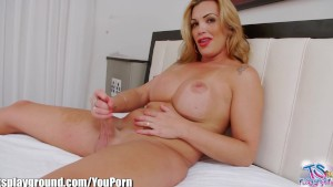 TSPlayground Hot Blonde Tgirl Finger Ass and Jerks it