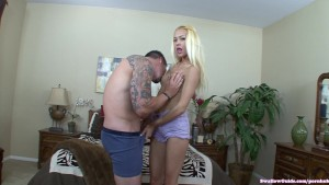 Mila Blaze takes a big load on her tongue
