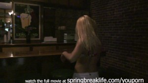 blonde fingers herself on bar