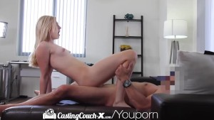 Casting Couch-X Blonde cheerleader shows off on cam