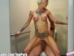 BurningAngel Punk Chick Sucks Cock In Restaurant Bathroom