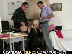 Picture Mature swallows two cocks for work