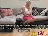 FakeAgentUK Sexy blonde vixen squirts uncontrollably over casting couch