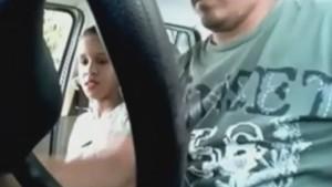 Slutty girl has sex in a car