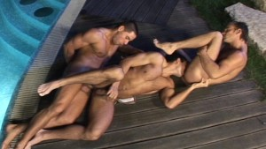 Thirsty dudes have a night out by the pool
