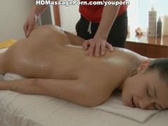 Sexy girl ero massage with oil and jizz
